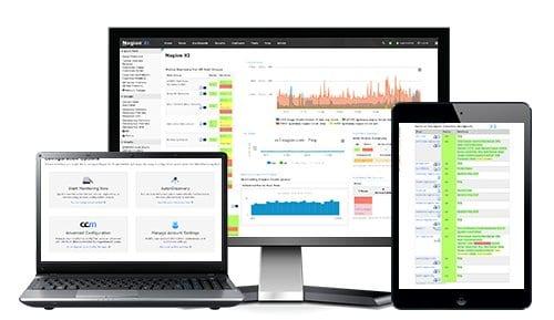 Overvågning på enheder og netværk i form af tabeller og grafer på forskellige devices